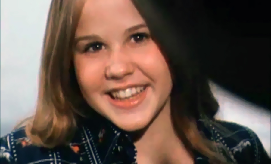 Linda Blair, aged 15, being interviewed in London, from the BBC Midweek segment