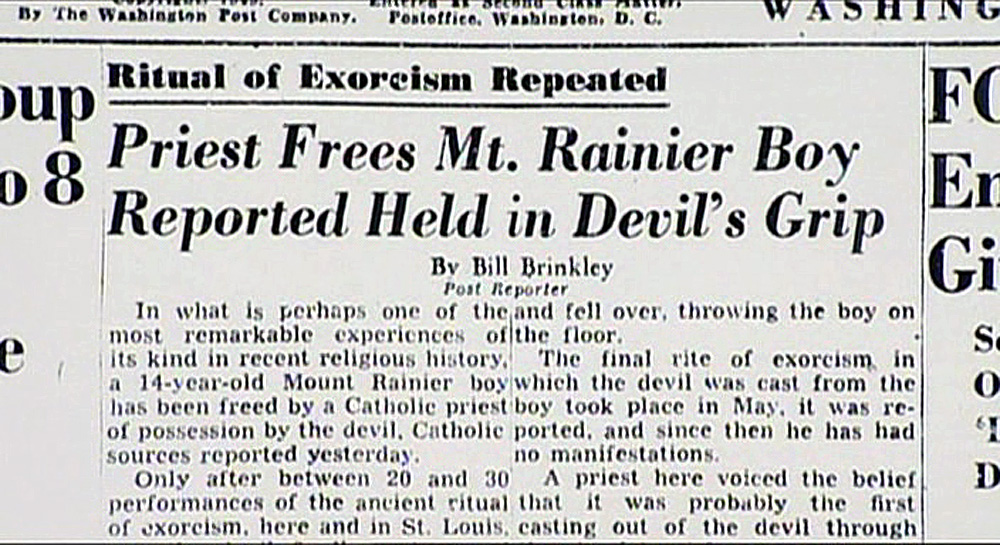 Newspaper clipping of the exorcism of Ronald Doe.