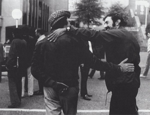 William Peter Blatty and William Friedkin during filming of The Exorcist.